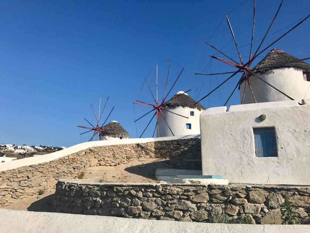 The iconic Kato Milli windmills in Mykonos, Greece