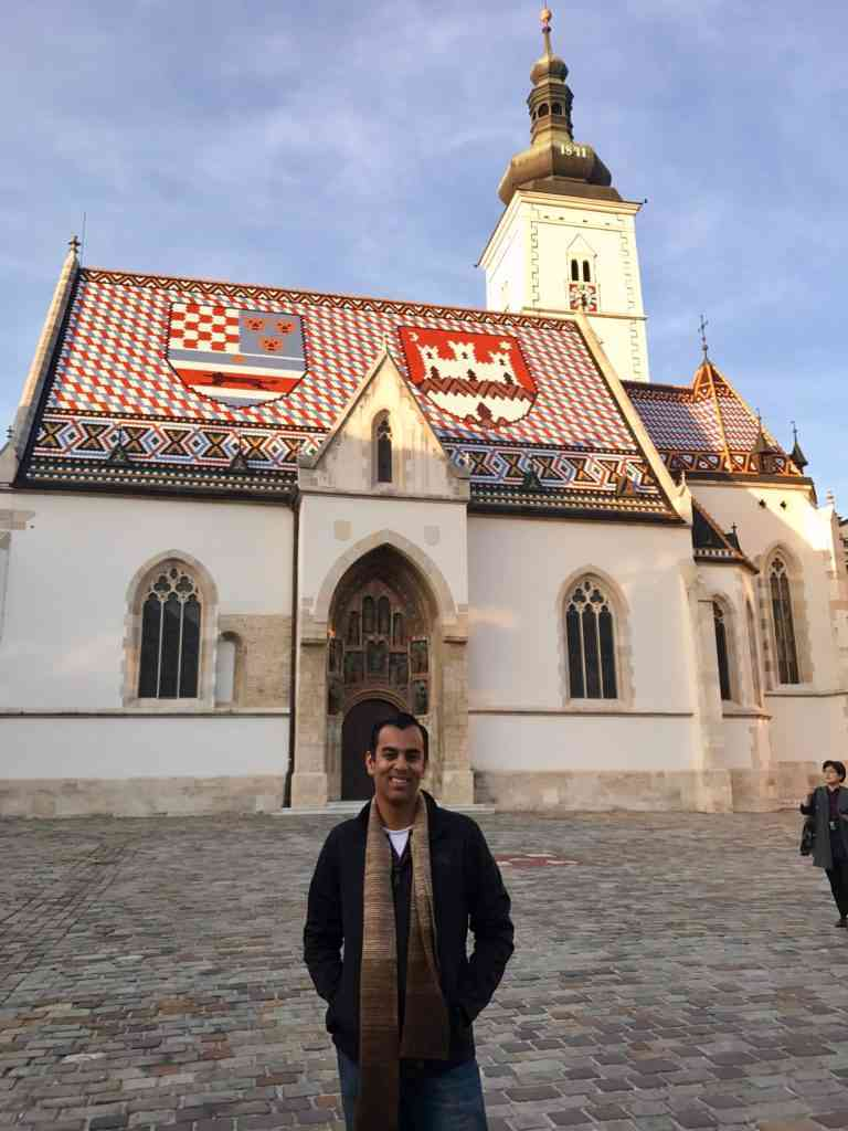 In front of the beautiful St. Mark's Church in Zagreb