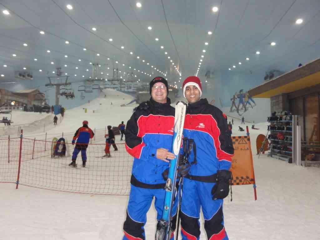 AJ and his friend Ronnie in Ski Dubai