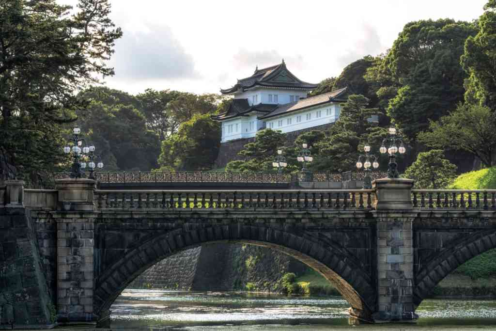 tokyo imperial palace view during sunset hours with seimonishi bridge. Tokyo with kids
