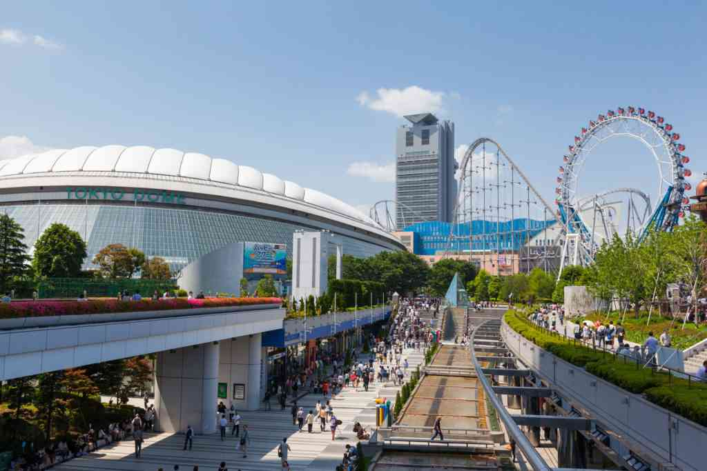 General view of Tokyo Dome City, an entertainment district with the Tokyo dome, a multi-purpose sports stadium.