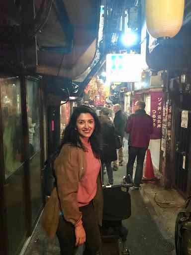 natasha pushing stroller during Tokyo walking tour