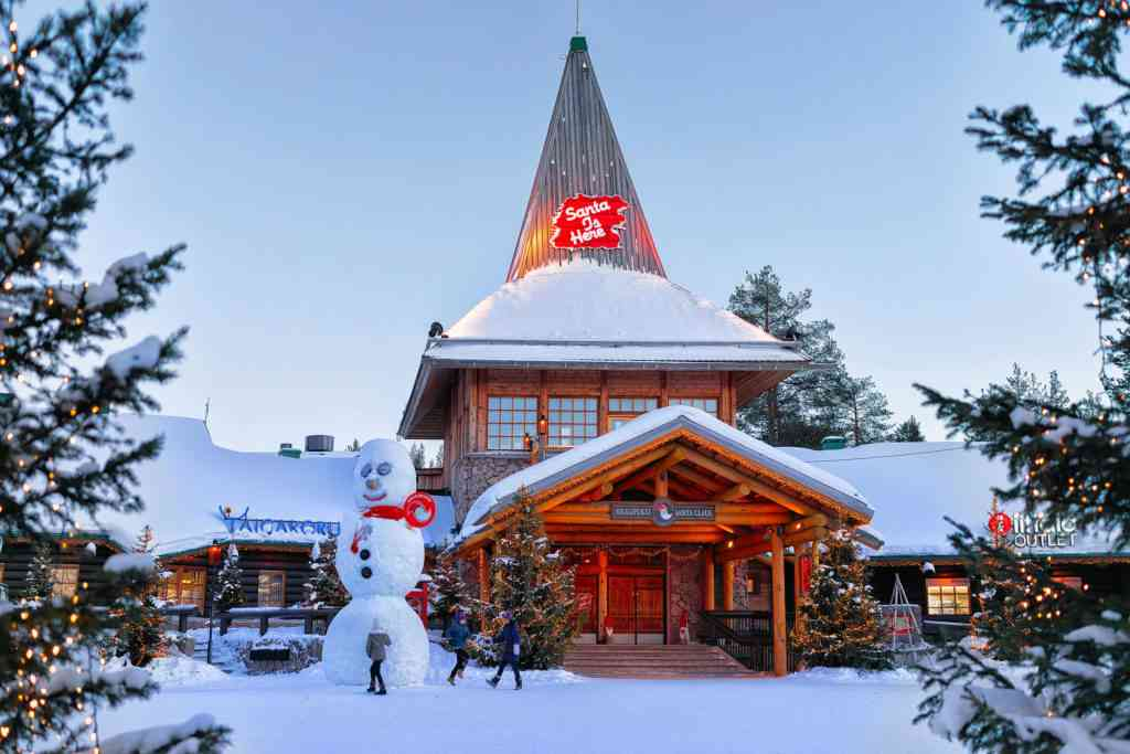 Snowman at Santa Office at Santa Claus Village, Rovaniemi, Lapland, Finland, on Arctic Circle in winter.