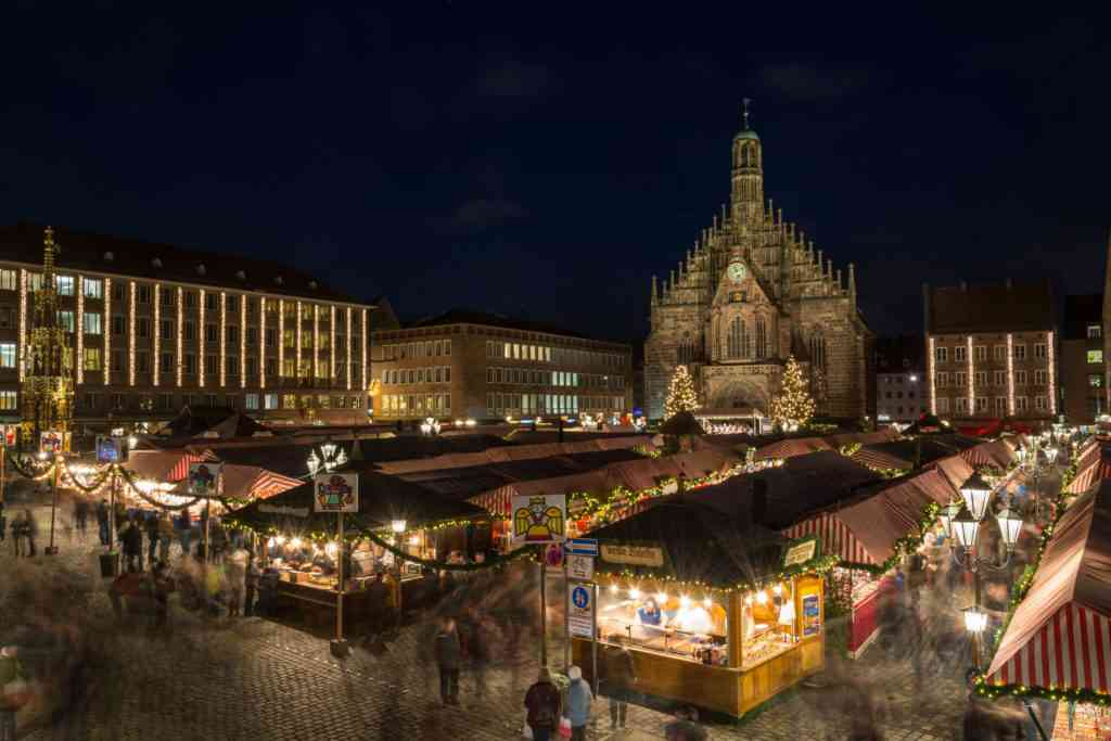 The Christmas market in Nuremberg at night