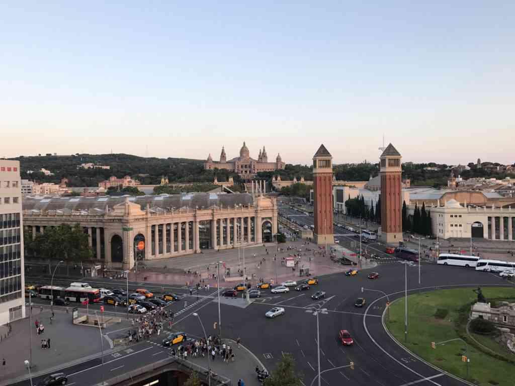 Beautiful view of Plaza Espana from Arenas De Barcelona