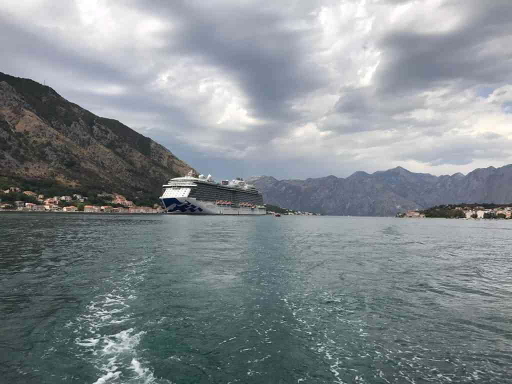 Amazing view of our cruise ship from our tender boat in Kotor, Montenegro