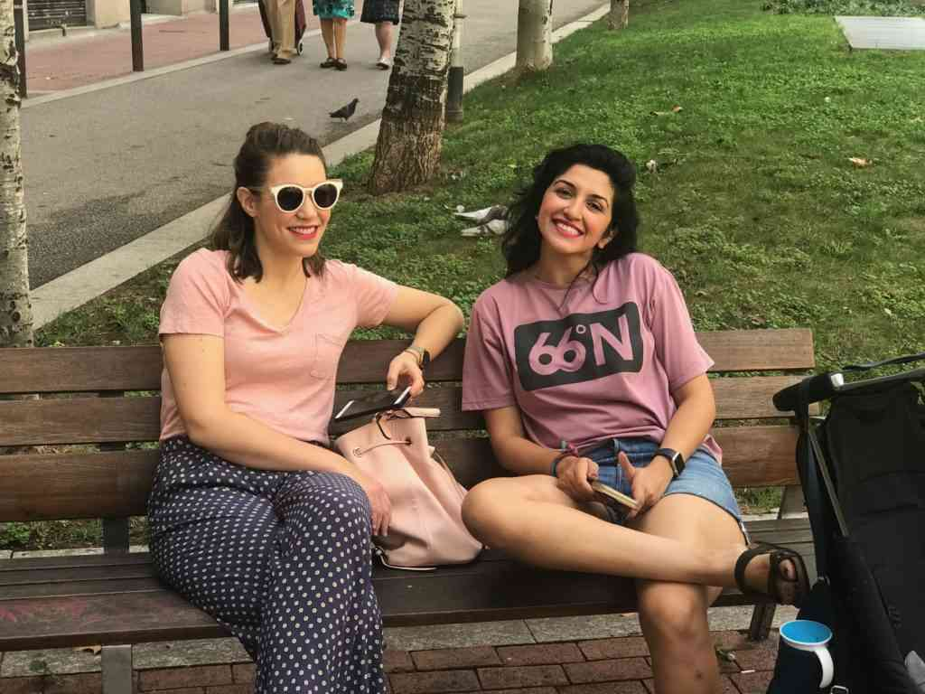 Natasha and my sister-in-law chilling out at a neighborhood park in Barcelona