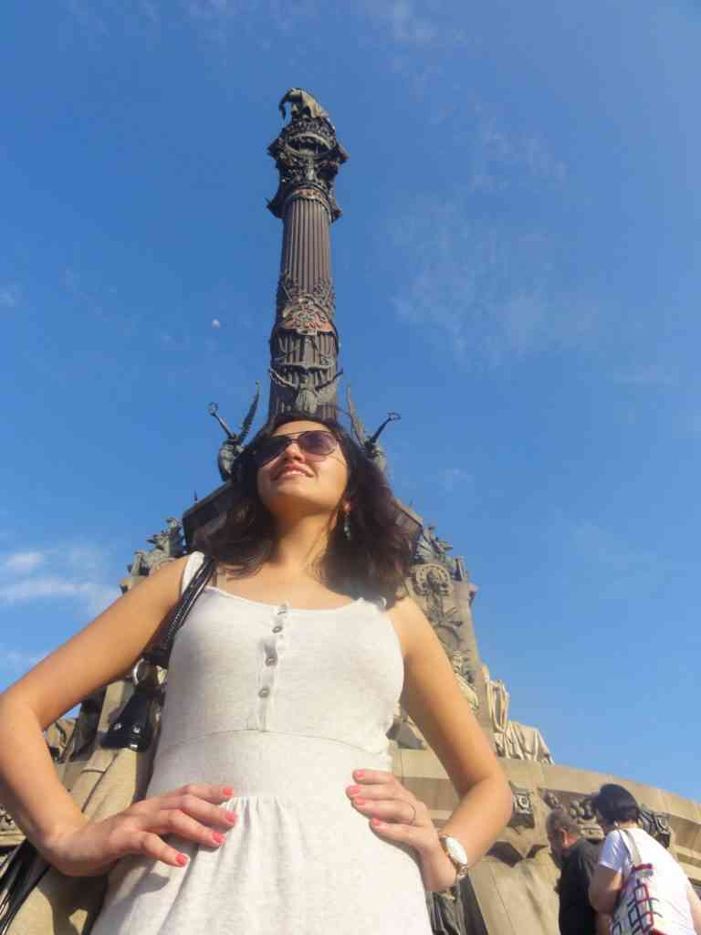 Natasha in front of Columbus monument in Barcalona