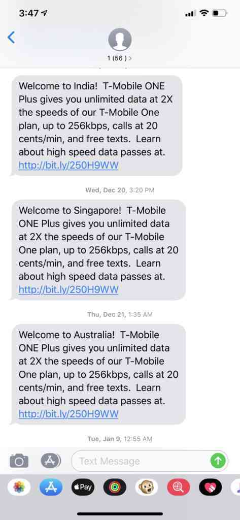Our T-mobile plan allowed us to access data wherever we went