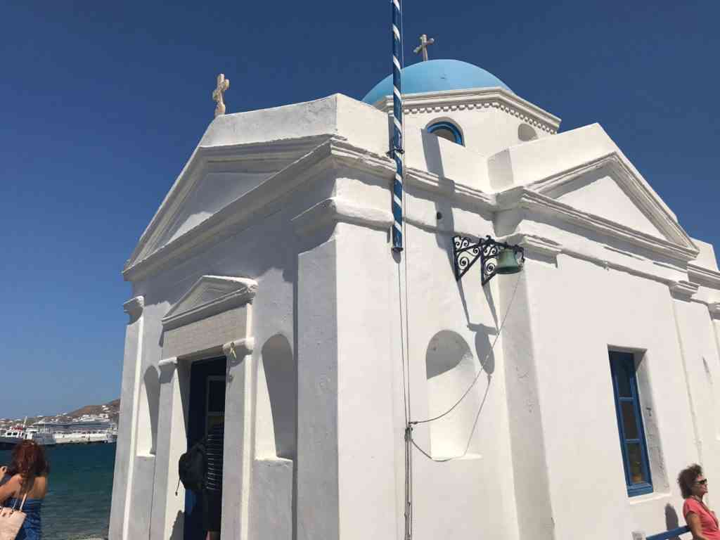 Beautiful Agios Nikoloas church in Mykonos, Greece