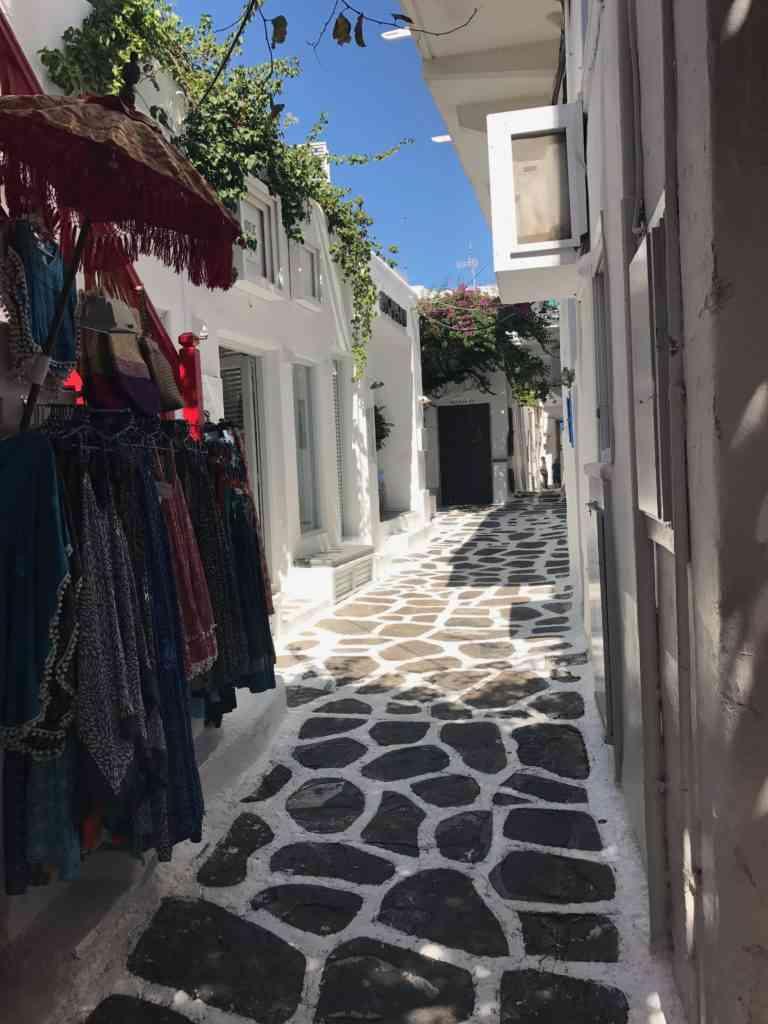 Incredibly pretty narrow streets in Mykonos, Greece