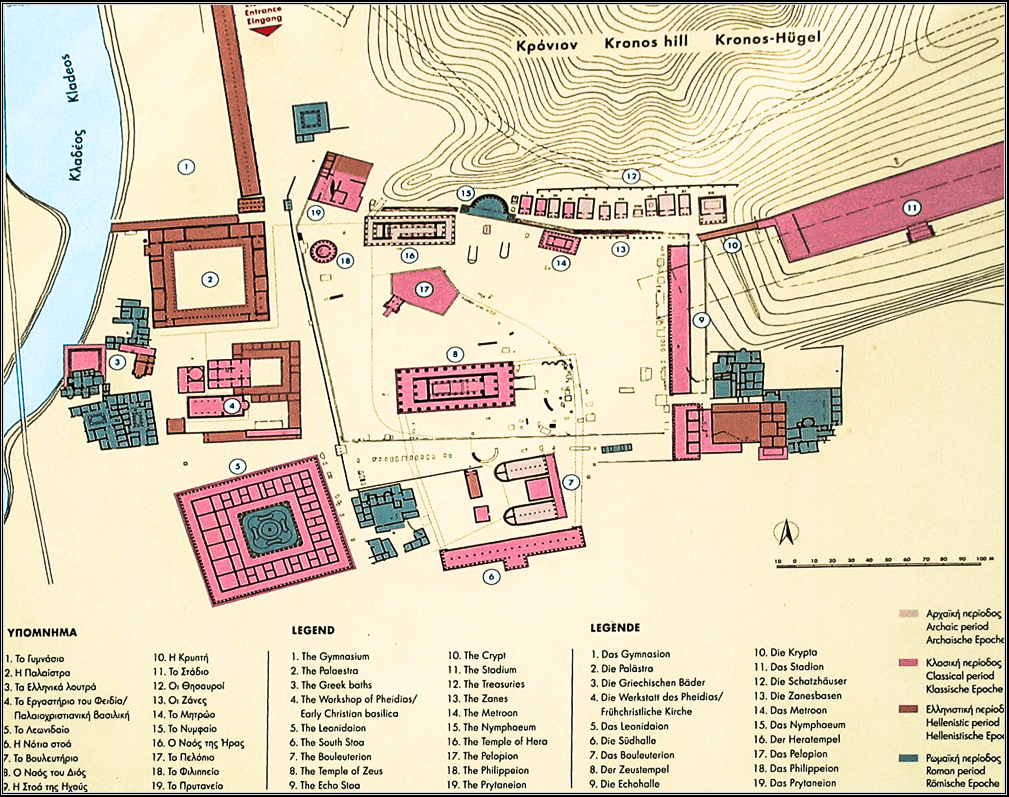 Map of Olympia Archealogical Site