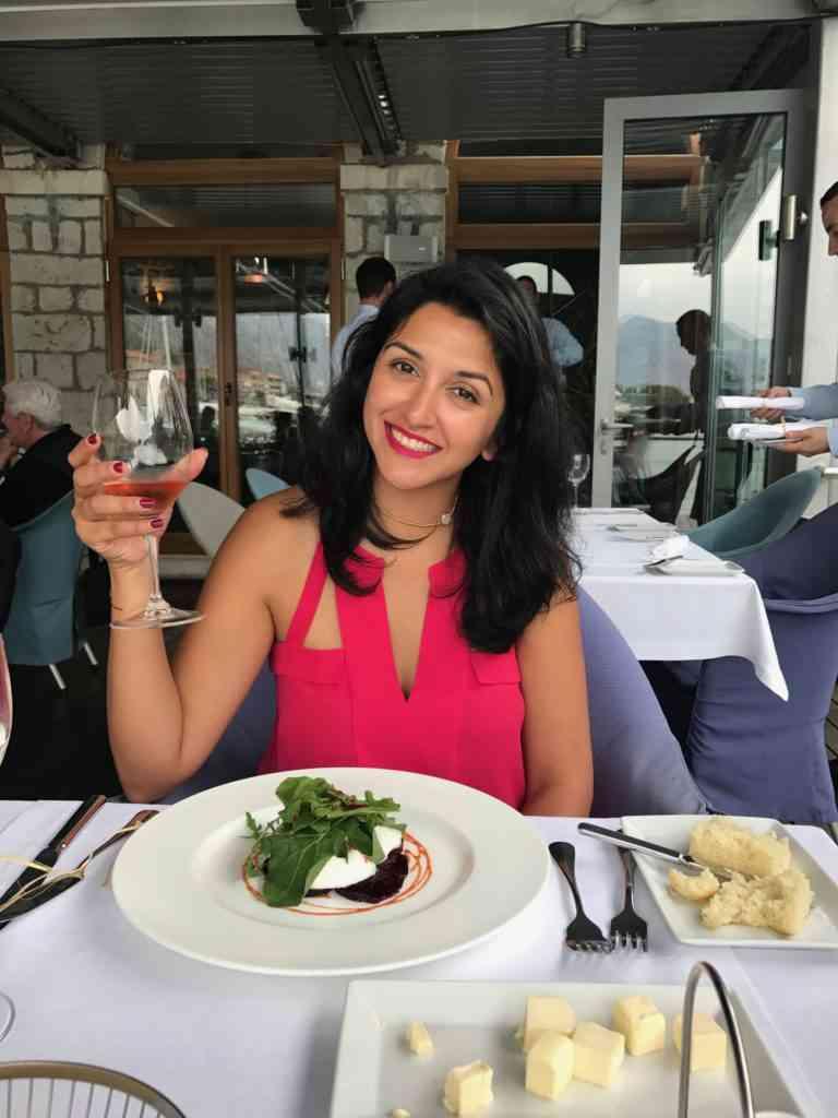 Natasha enjoying lunch in Kotor