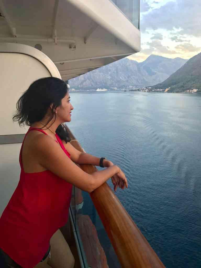 Natasha enjoying the views from the cruise ship