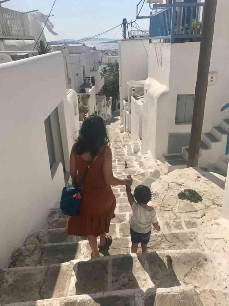 Walking down the steps in Mykonos w/ Aarav