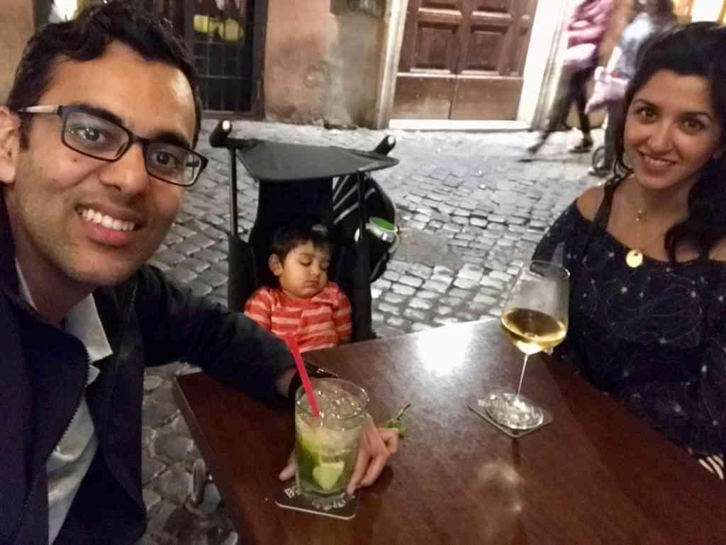 Enjoying a drink in Trastevere after Aarav went to sleep