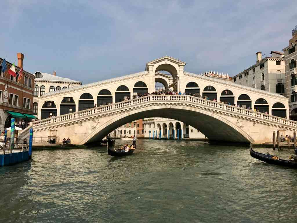 Enjoying the Rialto bridge from our ferry