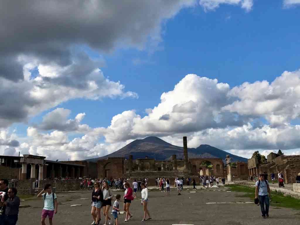 The center of the city with Mt. Vesuvius in the background (eerie!)