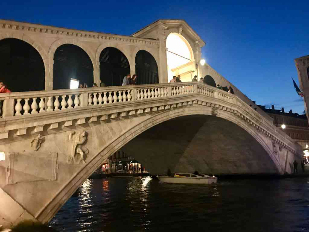 The incredible Ponte di Rialto and in Venice at night