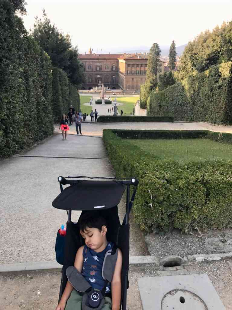 Aarav asleep at Boboli gardens in Florence