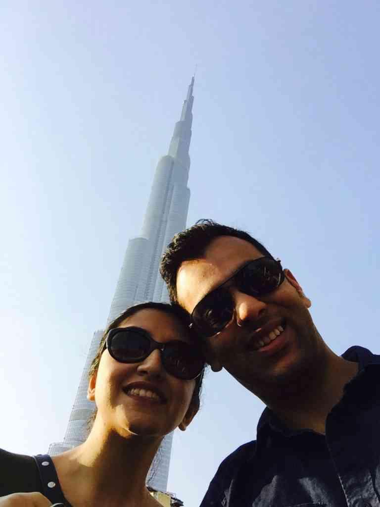 In front of the awe inspiring Burj Khalifa