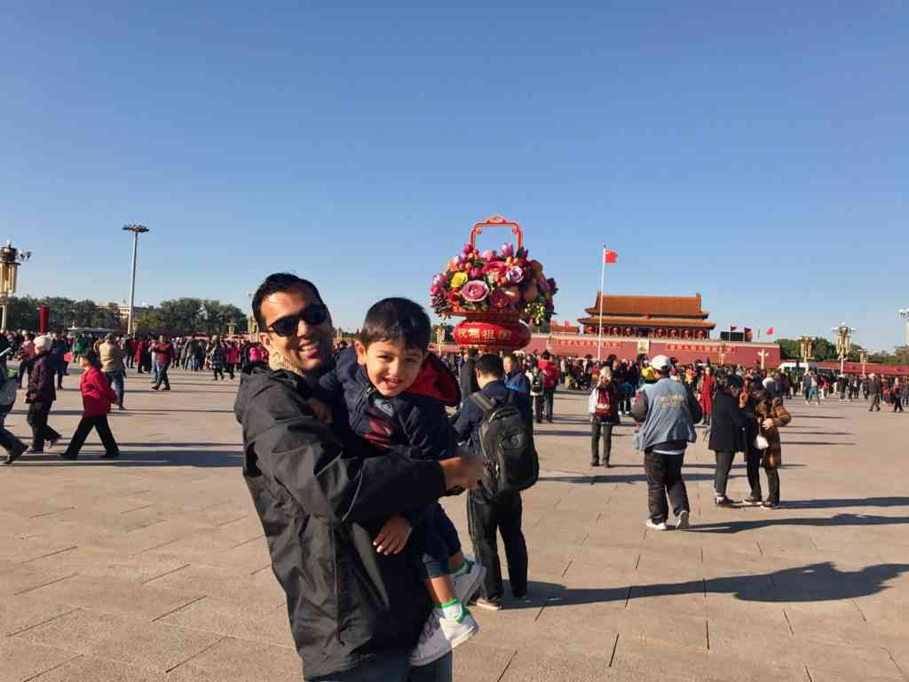 AJ and Aarav at Tianammen square