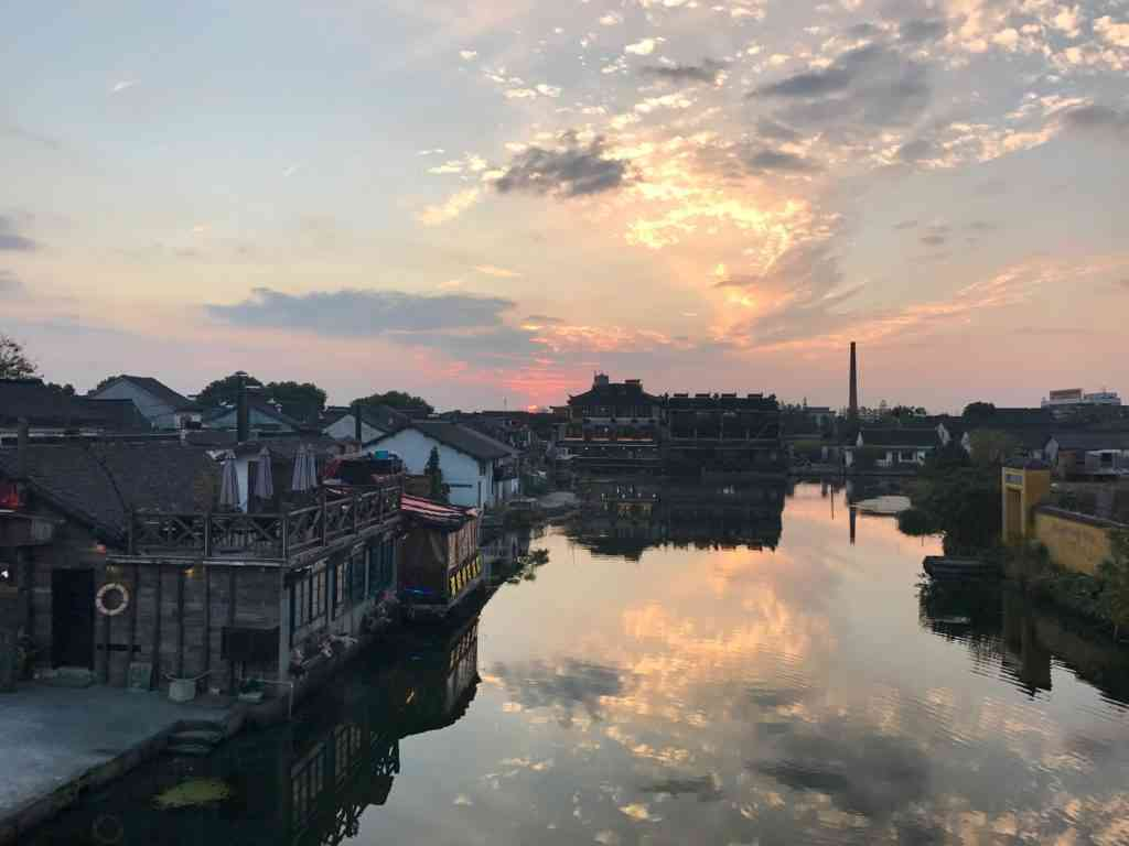 Beautiful sunset over Xitang Ancient Water Town outside of Shanghai