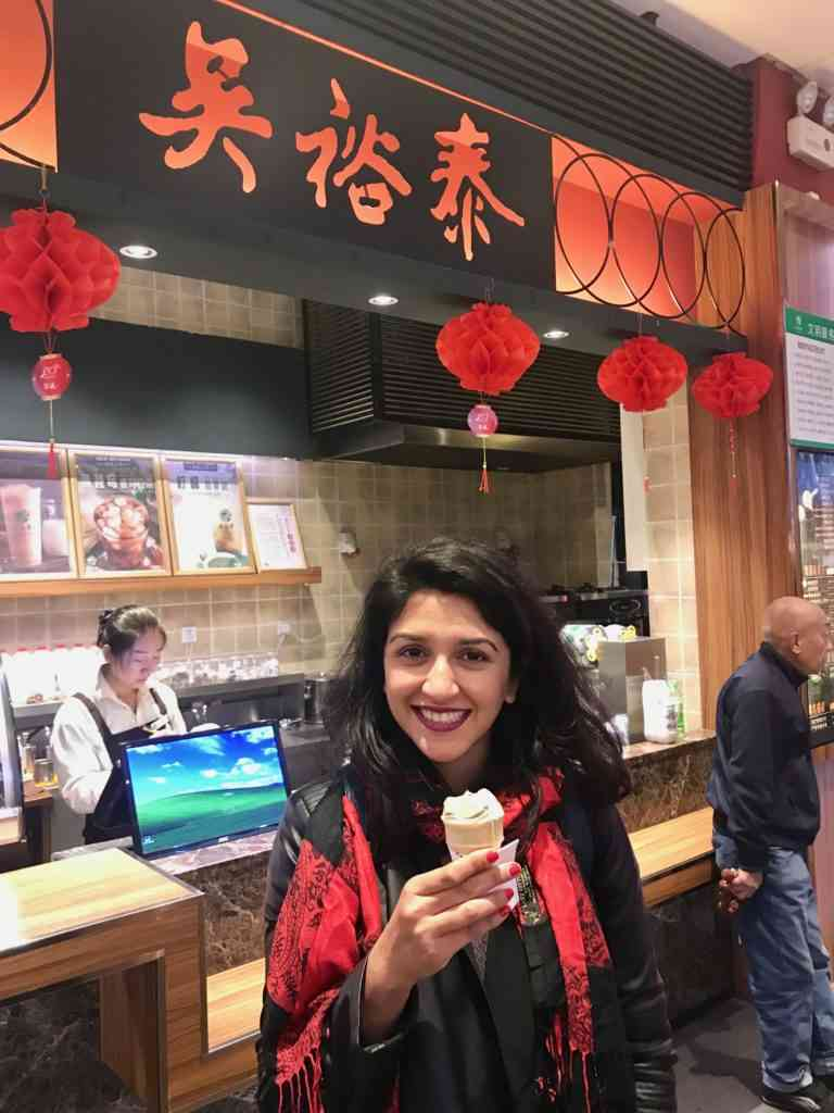 Enjoying an icecream on Wangfuijing Street, Beijing