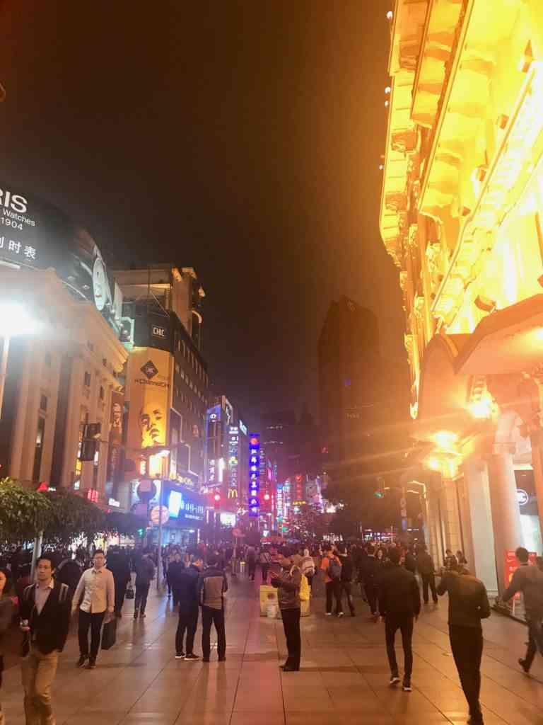 Walking on Nanjing Street at night is incredible