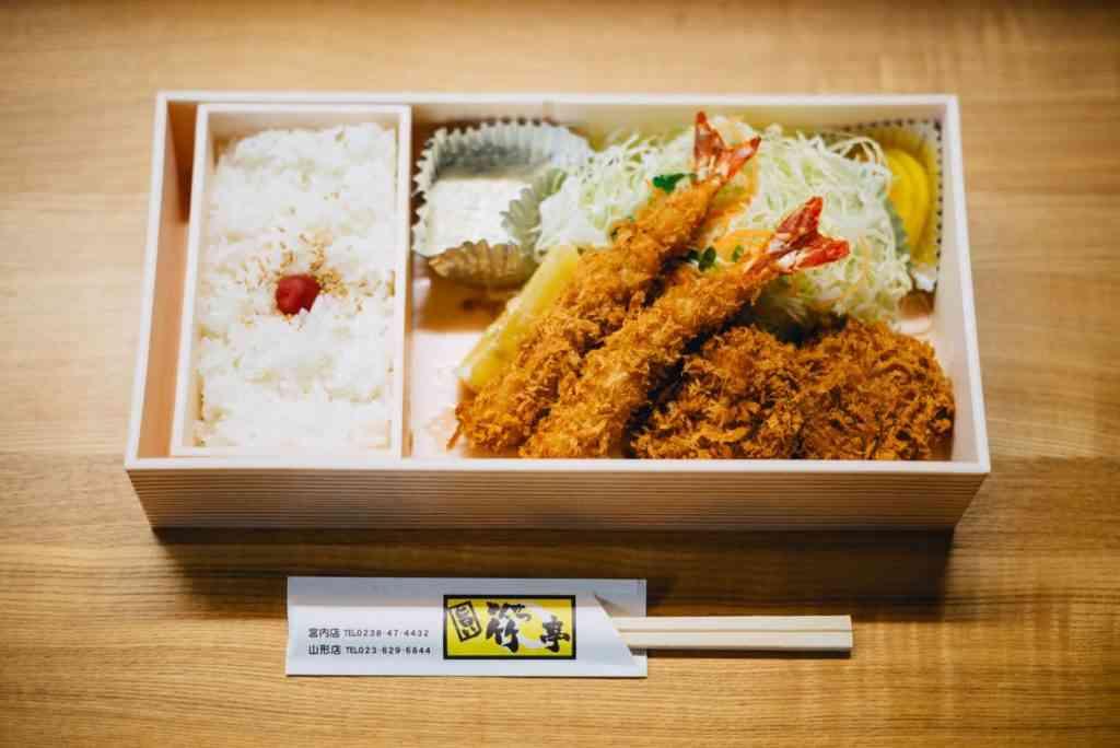bento box with tempura shrimp