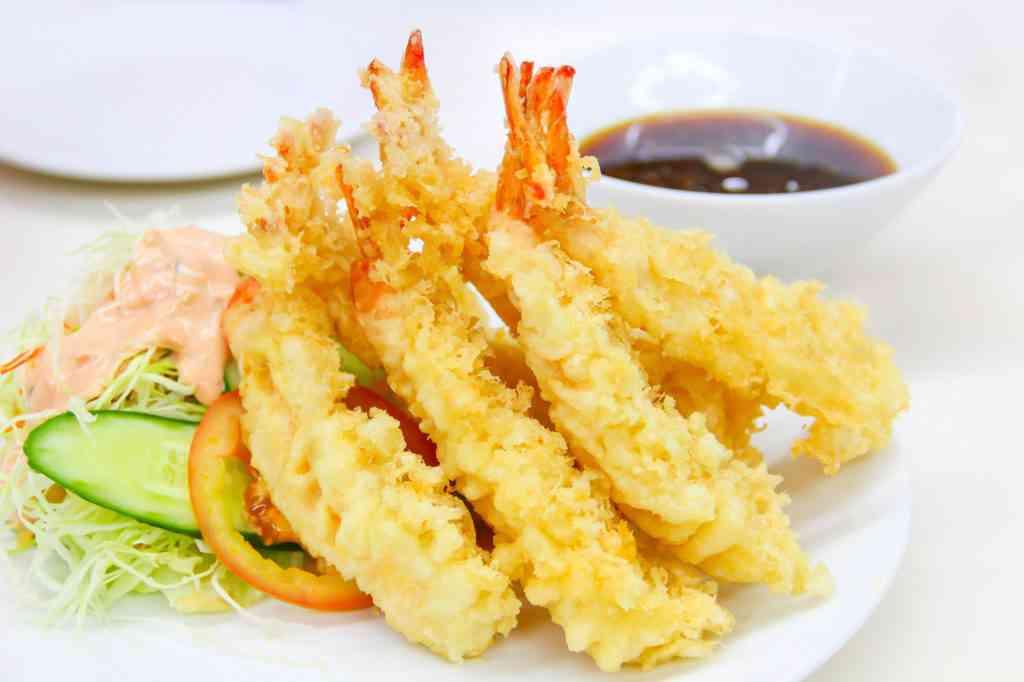 Japanese Cuisine - Tempura Shrimps (Deep Fried Shrimps) with sauce