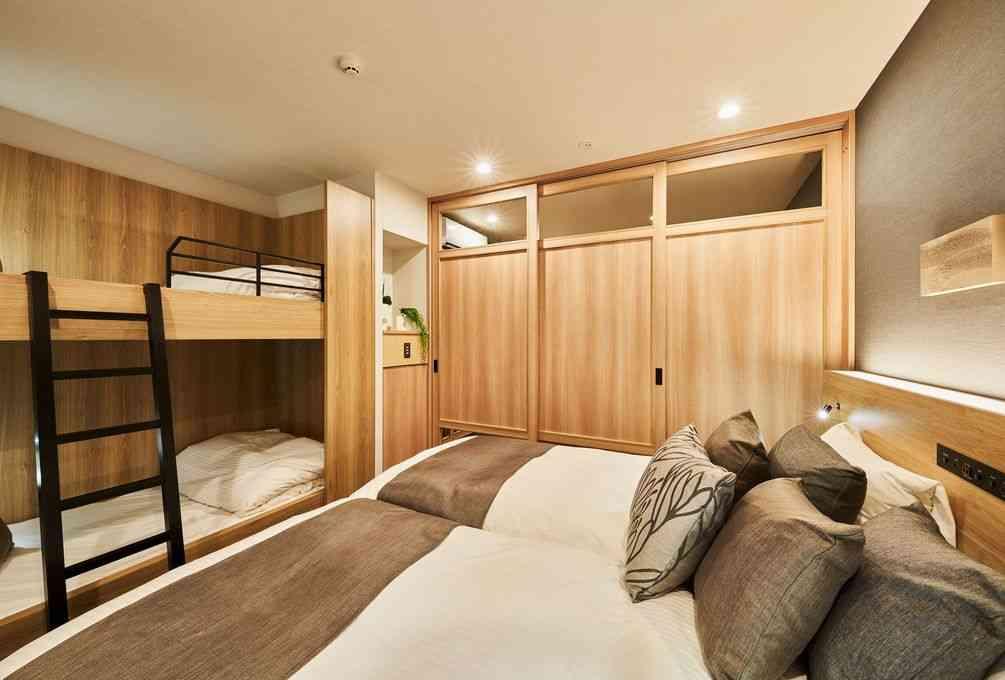 Kid friendly room in  Mimaru Kyoto Shinmachi Sanjo with bunk beds