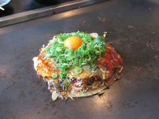 A delicious example of the okonomiyaki you can have at Gion Tanto