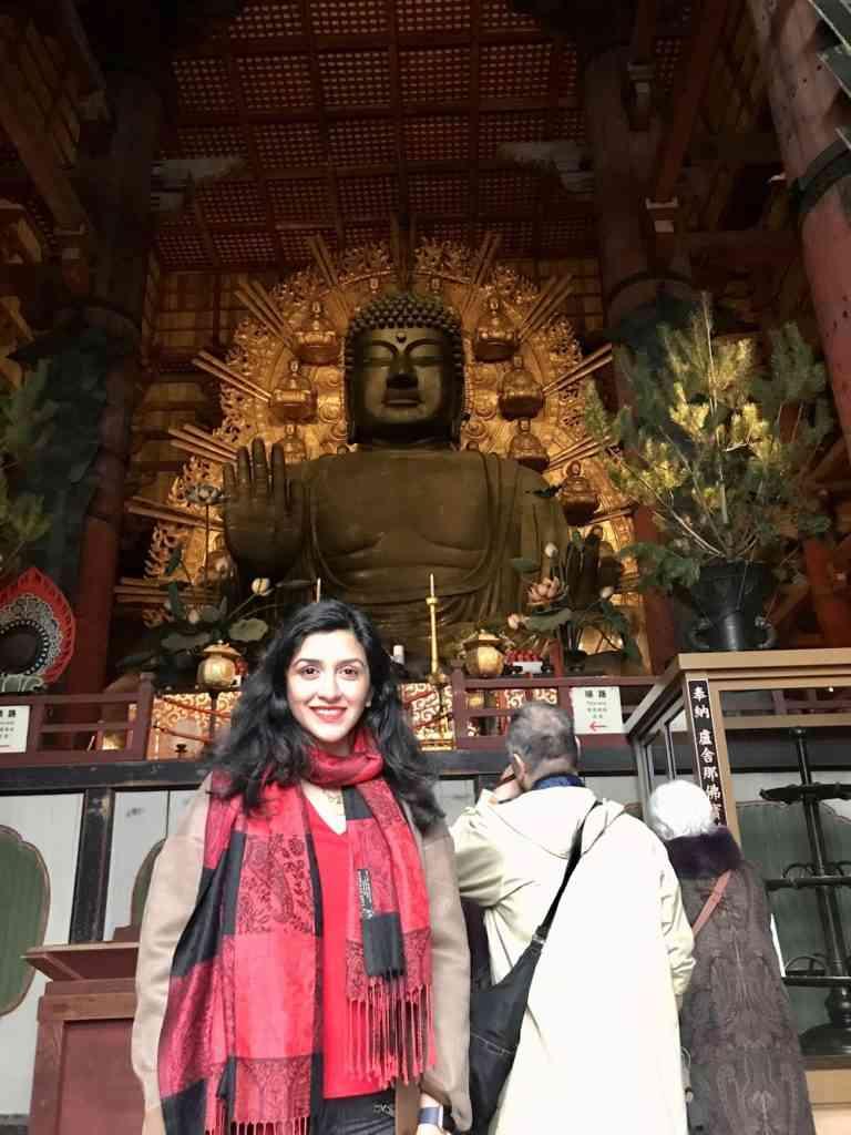 Natasha in front of the incredible Buddah statue in Todai-ji Temple