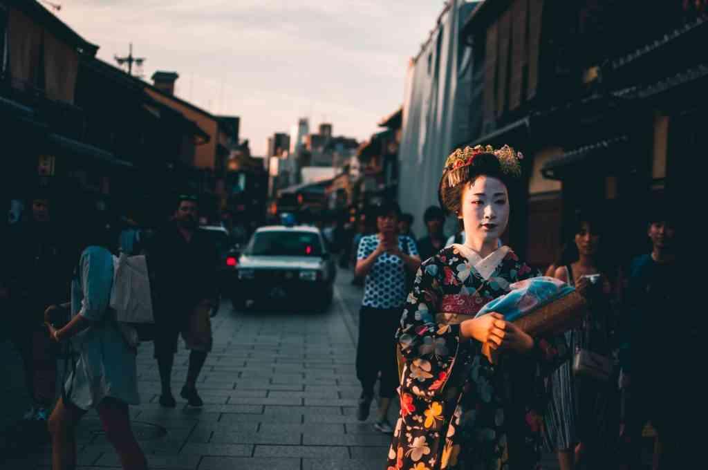 Geisha wondering around the streets in Gion