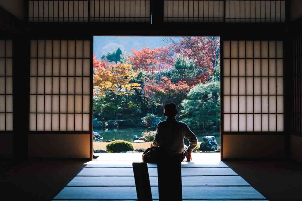 Kyoto in autumn seen from a traditional Japanese house.