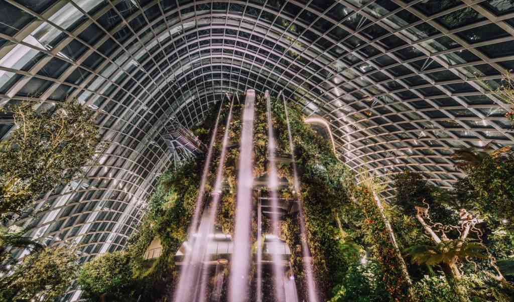 Famous indoor waferfall in Gardens by The Bay